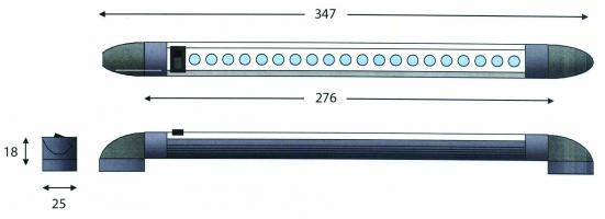 REGLETTE LED18 APPLIQUE ORIENTABLE AVEC INTERRUP. 12V/2W