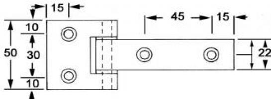 CHARNIERE ALU 50X125