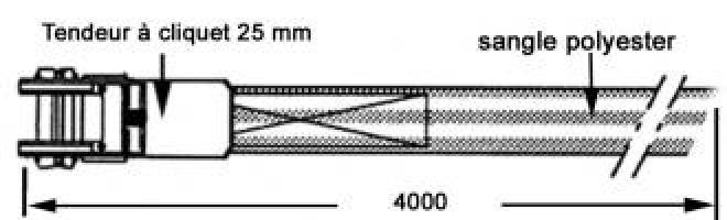 TENDEUR A CLIQUET BLEU LG 5M -LARG.25mm CROCHETS DOUBLES