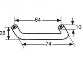 POIGNEE PLASTIQUE MARRON RAL 8014 ENTRAXE 64MM