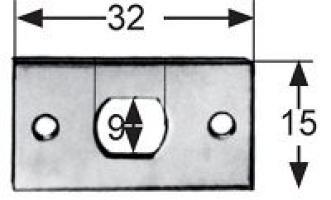 GACHE PLATE 32X15MM LAITON CHROME