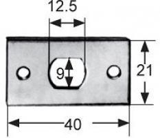 GACHE PLATE 40X21MM LAITON CHROME