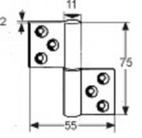 PAUMELLE DEGONDABLE 75X55MM LAITON EPOXY BLANC DROITE