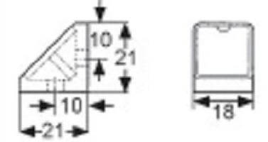 ASSEMBLAGE 2 TROUS 21X18MM PLASTIQUE AULNE RAL 8023 + COUVERCLE